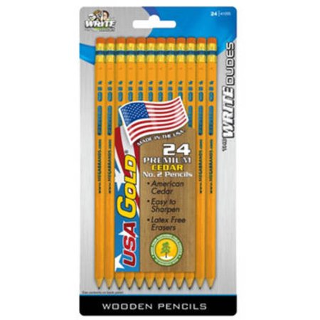 Write Dudes USA Gold Premium Cedar Pre-Sharpened Pencils, #2 Yellow, 24-Count