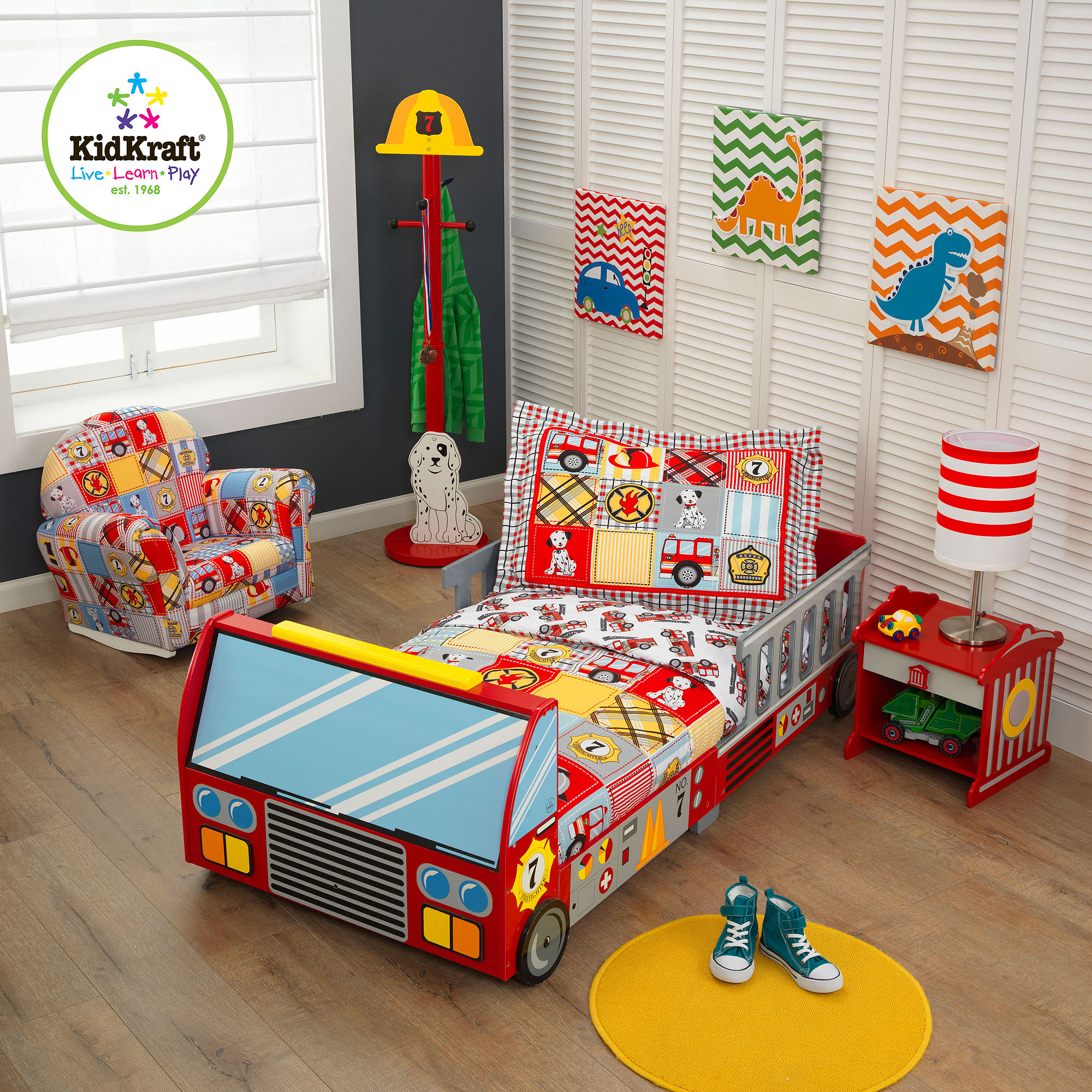 kidkraft fire truck 4 piece toddler bedding set walmart com