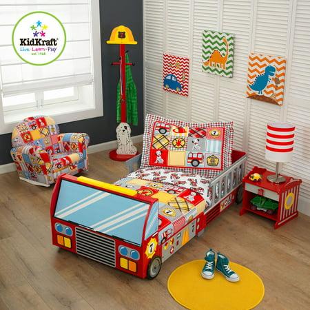 KidKraft Fire Truck 4-Piece Toddler Bedding Set - Walmart.com