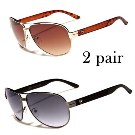 New Men Aviator Sunglasses Driving Gun Color Lens Mirrored Classic Designer ()