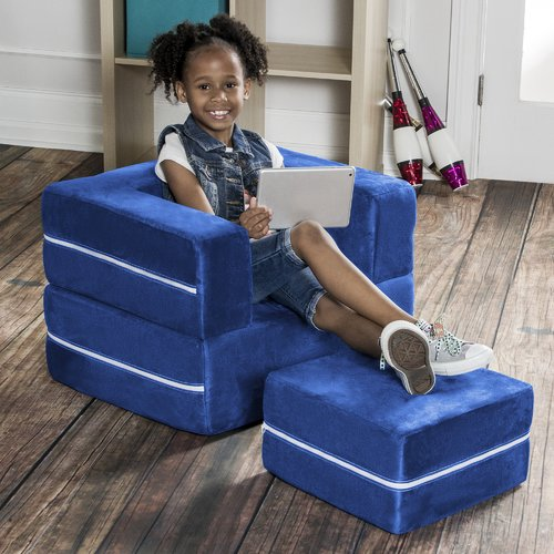 Jaxx Zipline Modular Kids Chair /& Ottoman//Fold-Out Lounger Lime 845628032572