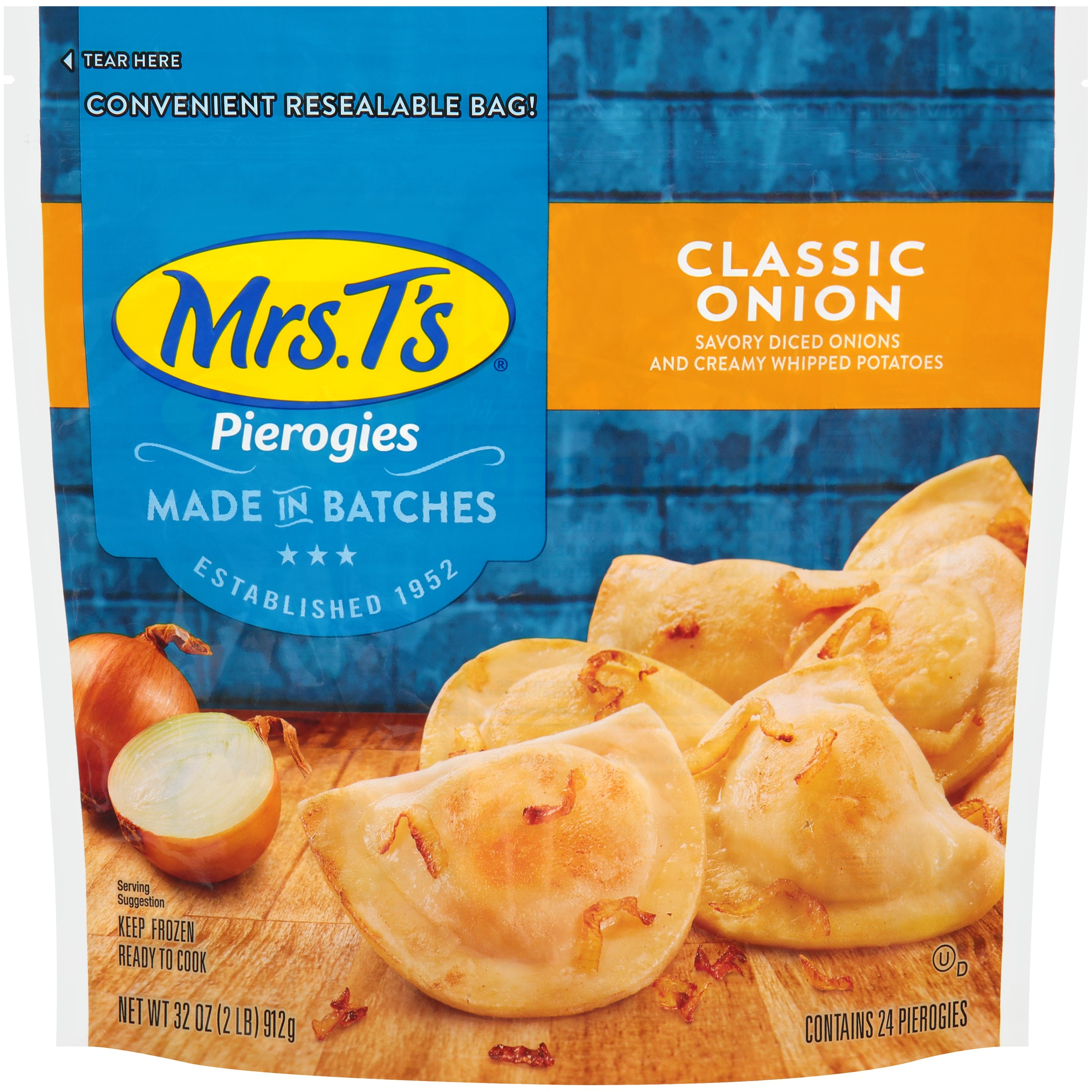 Mrs. T's® Classic Onion Pierogies 32 oz. Bag