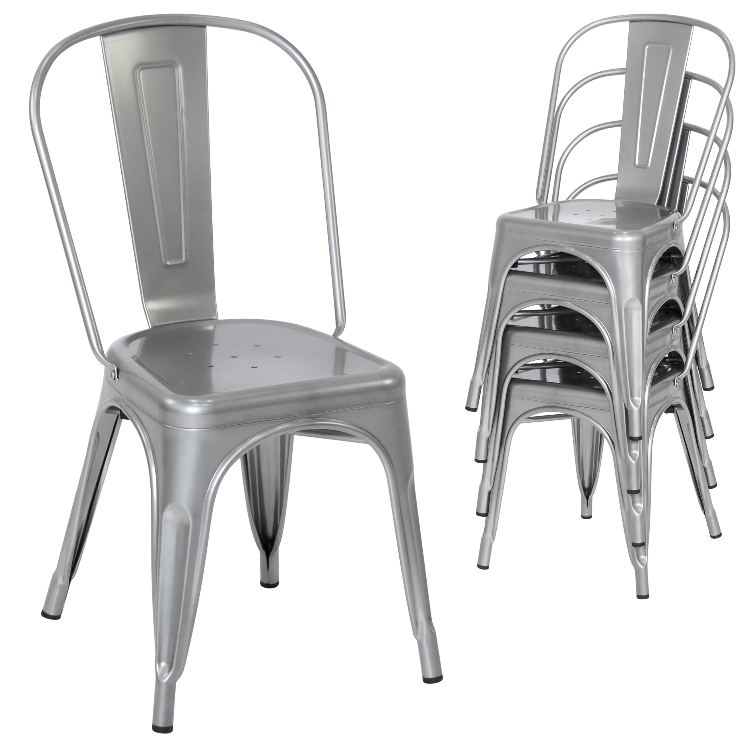 Best Choice Products Set of 4 Stacking Modern Industrial Metal Dining Chairs (Silver) by