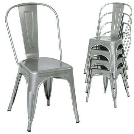 Best Choice Products Set of 4 Stacking Modern Industrial Metal Dining Chairs