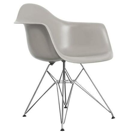 Fine Mid Century Modern Eiffel Style Bucket Dining Chair With Metal Base Medium Grey Machost Co Dining Chair Design Ideas Machostcouk