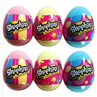 Set of 6: Shopkins Season 4 Surprise Pastel Eggs - Pink, Blue and Yellow