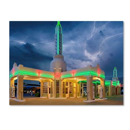 Trademark Fine Art 'Rt 66 Shamrock Texas Conoco Lightning' Canvas Art by Mike Jones Photo