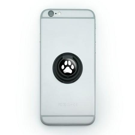 Paw Print Dog Cat White on Black Mobile Smart Phone Finger Ring Grip Holder Stand