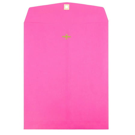 Ultra Thin Envelope - JAM Paper 9 x 12 Open End Catalog with Clasp Closure Envelope, Ultra Fuchsia Pink, 100/pack