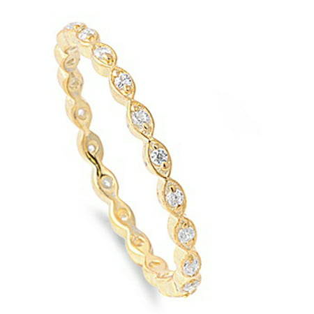 CHOOSE YOUR COLOR Sterling Silver Women's Gold-Tone Eternity Clear CZ Ring 925 Band 2mm (Gold Sterling Ladies Band Rings)