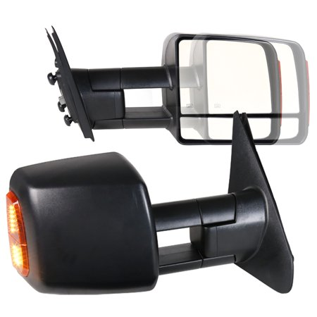 Spec-D Tuning For 2007-2017 Tundra Black Power Towing Telescopic Heated Mirror W/Signal Lights 2007 2008 2009 2010 2011 2012 2013