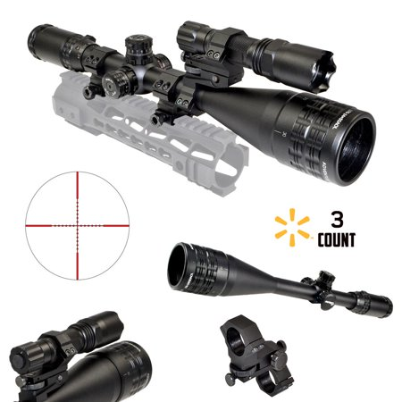 Sniper Combo Deal  Hunting Rifle Scope 6 24X50 Aol  Mil Dot  One Piece Rifle Ring Mount  Tactic Flashlight