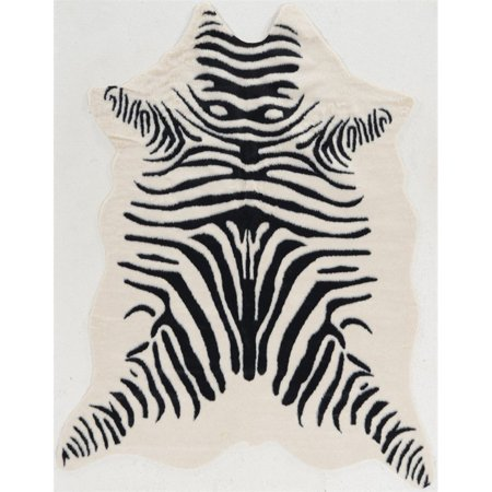 "Riverbay Furniture 5' x 6'6"" Faux Cowhide Zebra Area Rug in Ivory"