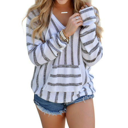 (ZXZY Women Autumn Fashion Stripe Long Sleeves Hoodie Sweater Casual Knit Blouse Tops)