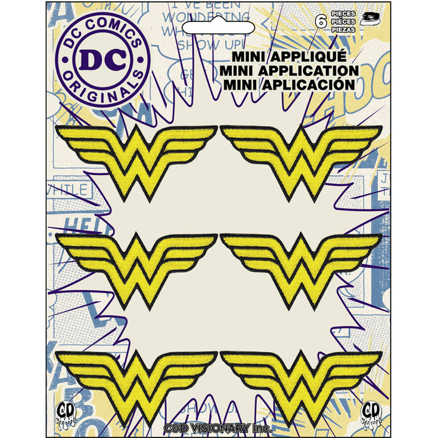 "DC Comics Patch, Wonder Woman Insignia, 2.25"" x 1"", 6pk"
