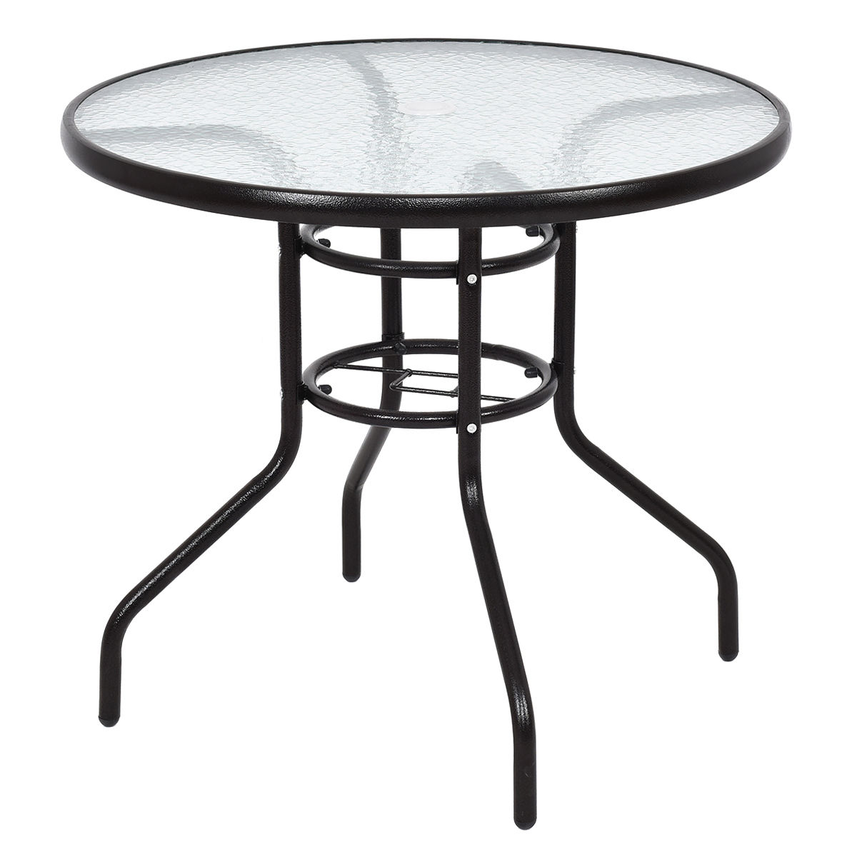 Costway 31 1/2'' Patio Round Table Steel Frame Dining Table Patio Furniture Glass Top
