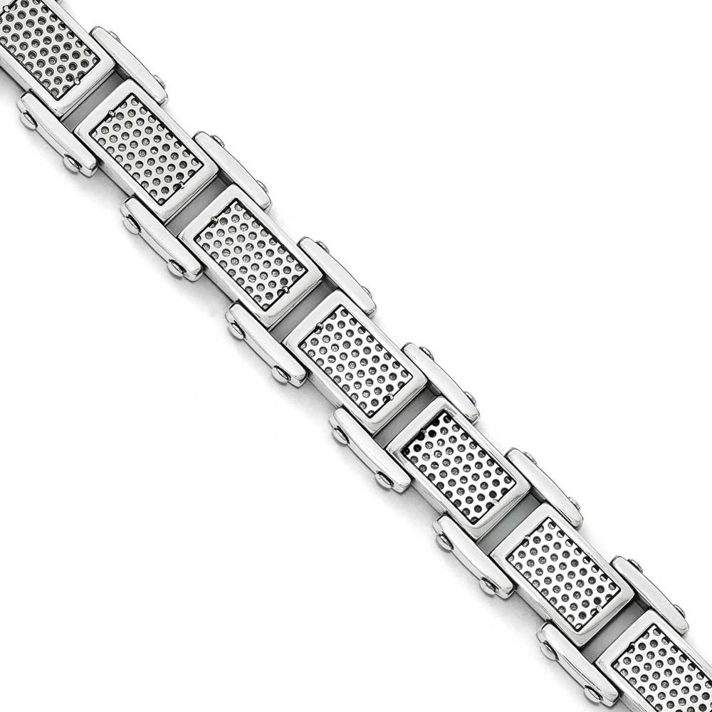 Stainless Steel Polished and Brushed Bracelet - 8.5 Inch