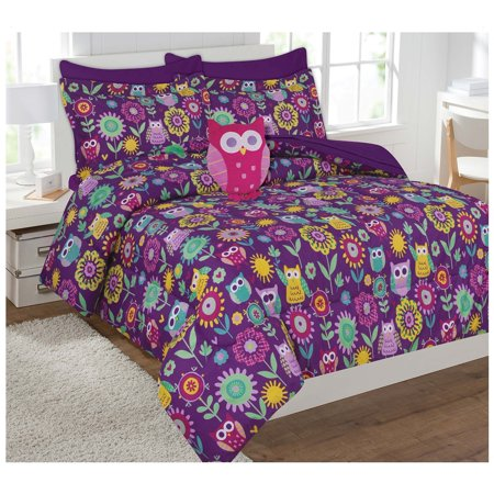 Fancy Collection 6pc Kids / teens girls Owl Flowers Design Luxury Bed-in-a-bag Comforter Set- Furry Buddy Included