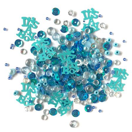 Buttons Galore Sparkletz Baby Boy - Clear Acrylic Gems, Sequins, Flat Back Pearls - 3 Packs 36 Grams