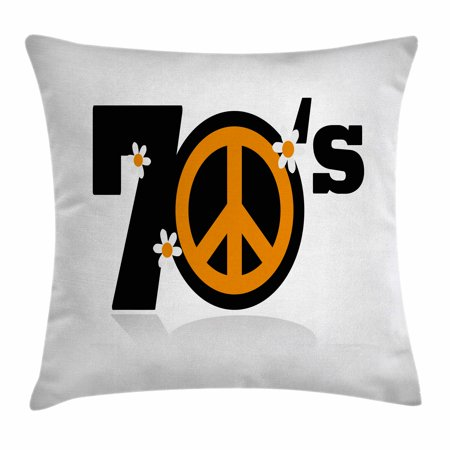 70s Party Decorations Throw Pillow Cushion Cover, Seventies Peace Symbol with Daisies Rock n Roll Art Print, Decorative Square Accent Pillow Case, 18 X 18 Inches, Black Marigold White, by Ambesonne - Seventies Party Decorations
