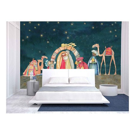 wall26 - Illustration Christian Christmas Nativity Scene with the Three Wise Men - Removable Wall Mural   Self-adhesive Large Wallpaper - 66x96 inches - Christmas Wall Scenes