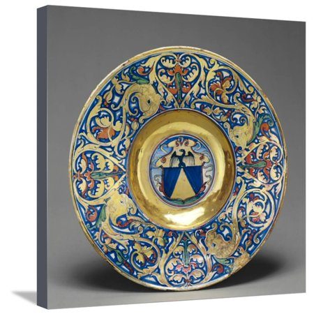 Renaissance Plate with the Coat of Arms of the Vegeri Family of Savona Stretched Canvas Print Wall Art