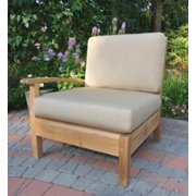 """35"""" Natural Teak Sectional Right Seating Outdoor Patio Chair with Beige Cushions"""