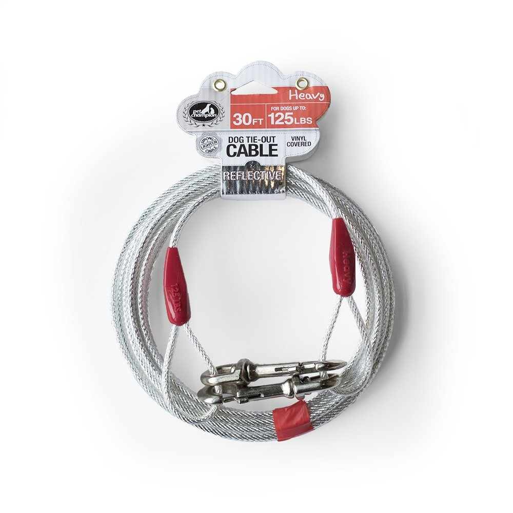 Heavy Reflective Tie Out Cable for Dogs Up to 125 Pound, 30 Feet, Heavy strength tested Check Birthday Safe Super pounds Rings dogs Available To up 50 PowerGrip Stake.., By Pet Champion