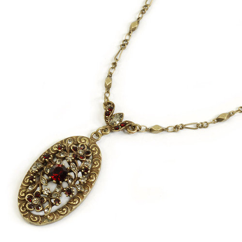 Sweet Romance Victorian Garnet Necklace