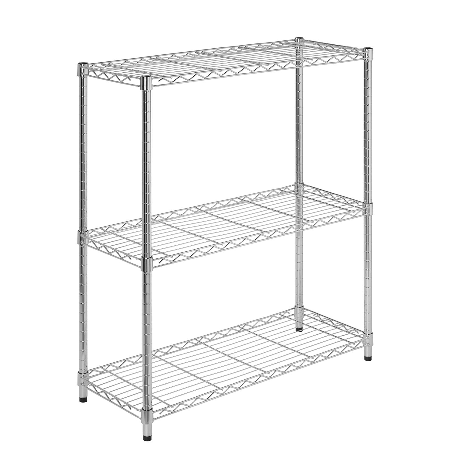 Honey Can Do 3-Shelf Steel Storage Shelving Unit, Chrome