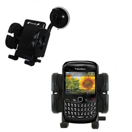 Gomadic Brand Flexible Car Auto Windshield Holder Mount designed for the Blackberry Curve 8500 - Gooseneck Suction Cup Style Cradle