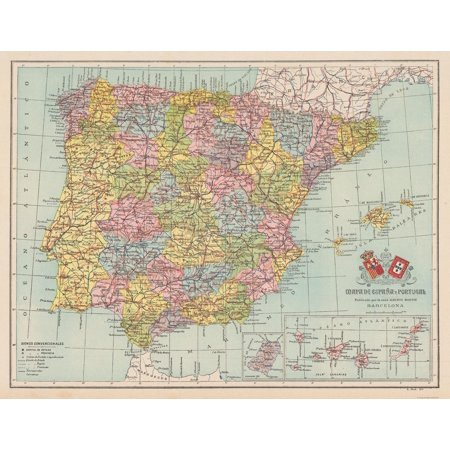 Map Of Portugal And Spain Detailed.Old Spain Map Spain Portugal Martin 1911 29 69 X 23