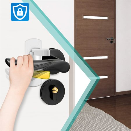 - Child Safety Door Handle Locks, 2 Pack Adhesive Baby Proof Door Lever Lock No Drill Quick Install Safety Locks for Door