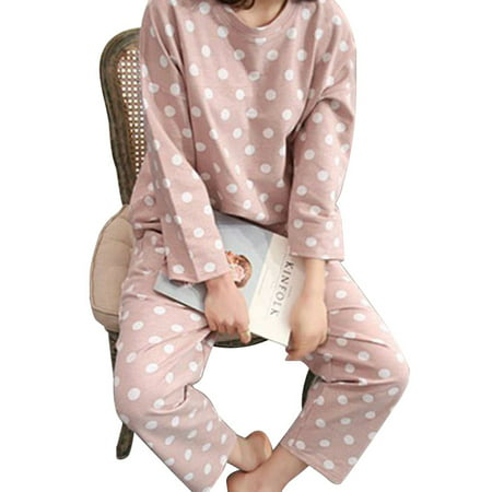 Funcee Women Lovely Polka Dot Long Sleeve Shirts + Pants Sleepwear Pajama Set