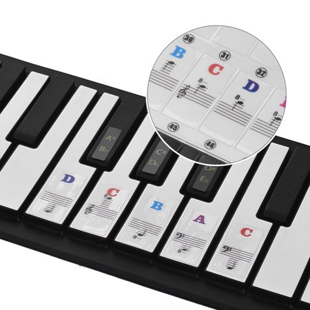Piano Stickers for 37/49/54/61/88 Key Keyboards Music Note Stickers Transparent and Removable Full Set Piano Keyboard Stickers Multicolor Font