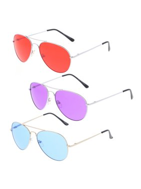d8cda2884133 Product Image Classic Metal Frame Colored Teardrop Lens Aviator Sunglasses  57mm (Silver / Red)