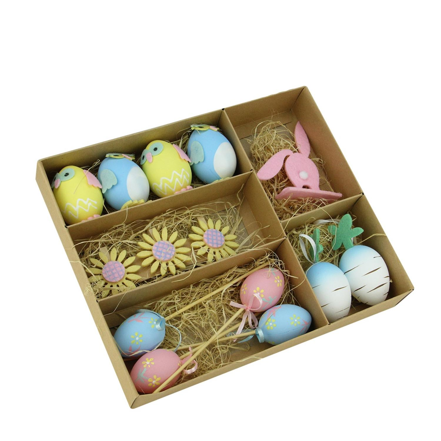 Set of 14 Pastel Pink Blue and Yellow Easter Egg Chicken & Bunny Spring Decorations