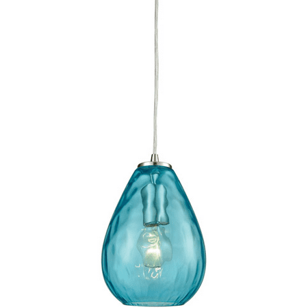 Pendants 1 Light With Satin Nickel Finish Aqua Water Medium Base 6 inches 60 Watts - World of Lamp