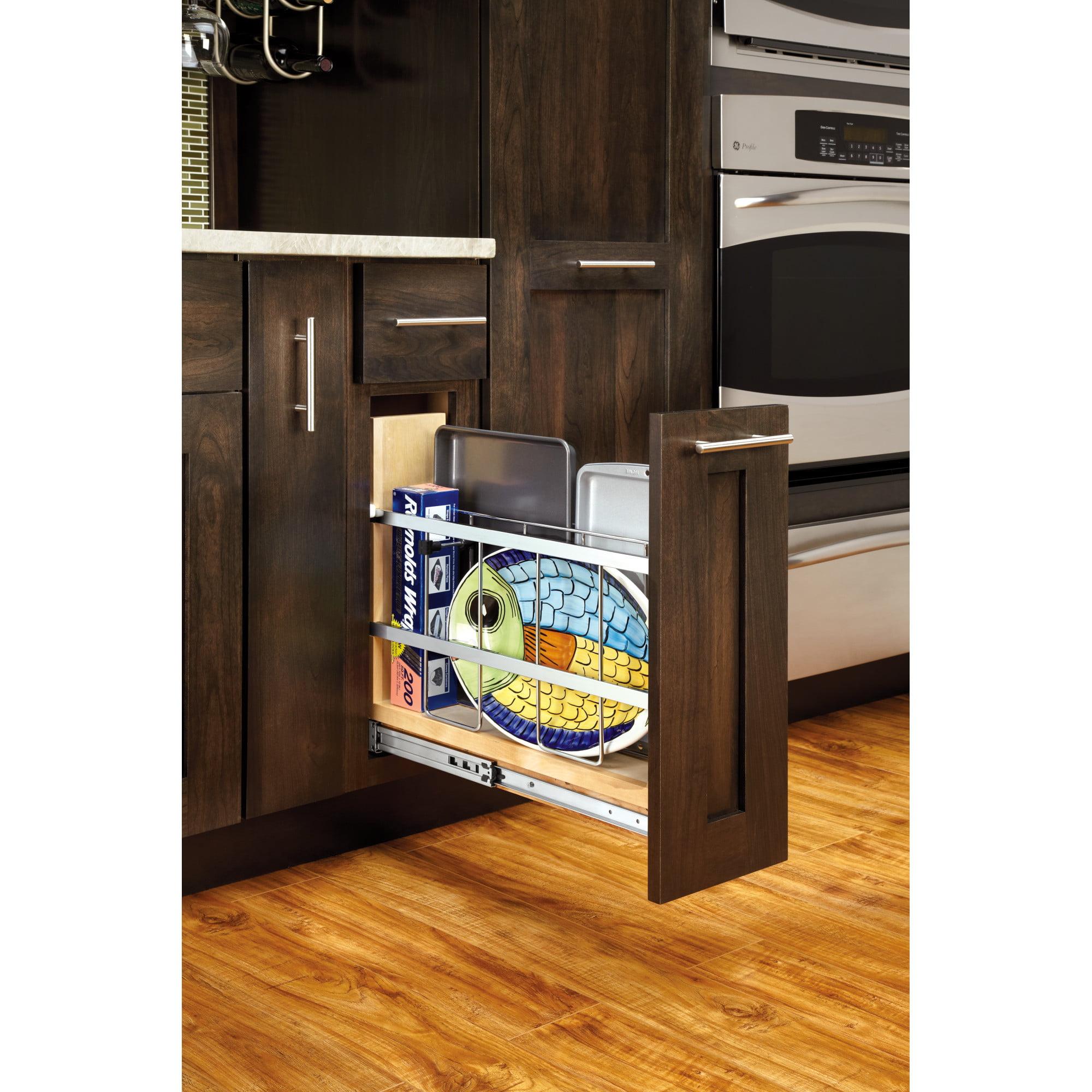 Rev A Shelf Pullout Tray Divider Cabinet Organizer With Ball Bearing Soft Close Slides Maple Walmart Com Walmart Com