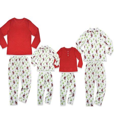 Family Matching Christmas Pajamas Set Santa Christmas Tree Print Long Sleeve Tops Pants Sleepwear Mom Dad Kids - Santa Pj