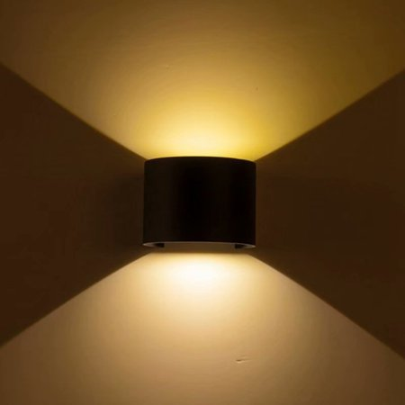12w Led Outdoor Up Down Lamp Cob Waterproof Wall Sconce Bd81 Half Round Light Black