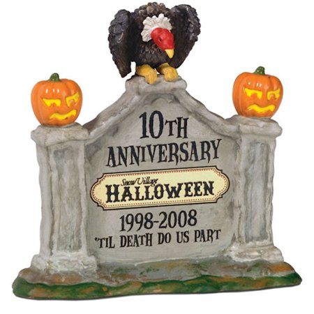 Department 56 Snow Village Halloween 805026 Halloween 10th Anniversary Sign - Halloween Anniversary