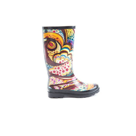soho shoes  women's rubber knee high abstract print rain