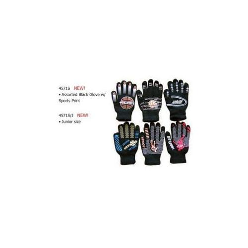 Adult Black Sports Printed Gloves (Pack of 60)