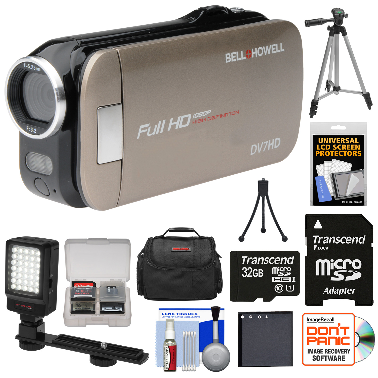 Bell + Howell Bell & Howell Slice2 DV7HD 1080p HD Slim Video Camera Camcorder (Champagne) with 32GB Card + Battery + Case + Tripods + LED Light + Kit