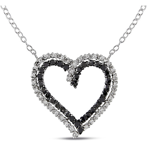 1/2 CT TDW Black and White Diamond Heart Pendant with Sterling Silver Chain, 18""