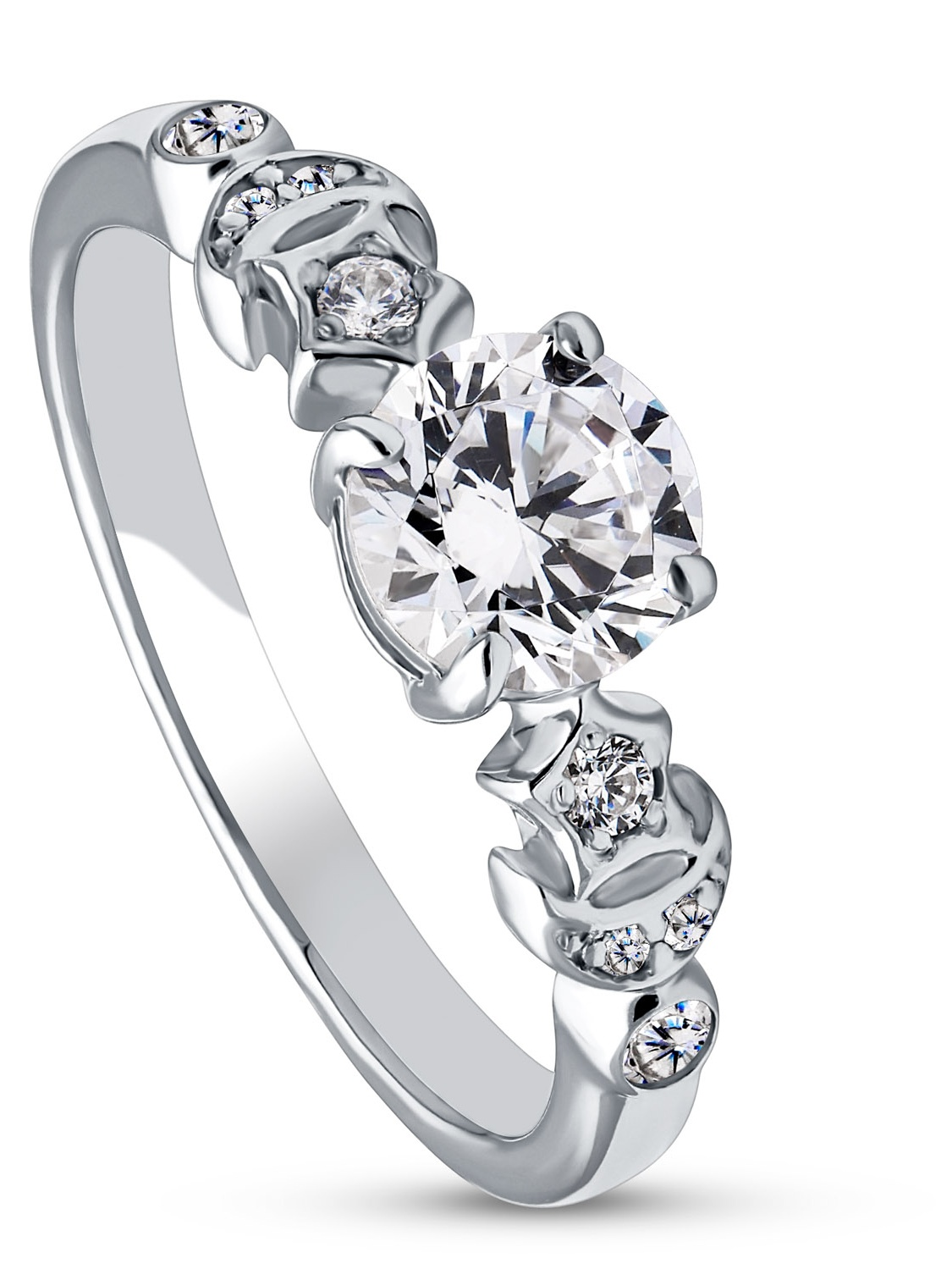 BERRICLE Rhodium Plated Sterling Silver Cubic Zirconia CZ Star Crescent Moon Promise Ring Size 5