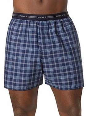Hanes Men's Comfort Flex Exposed Waistband Blue Plaid Boxer, 5-Pack