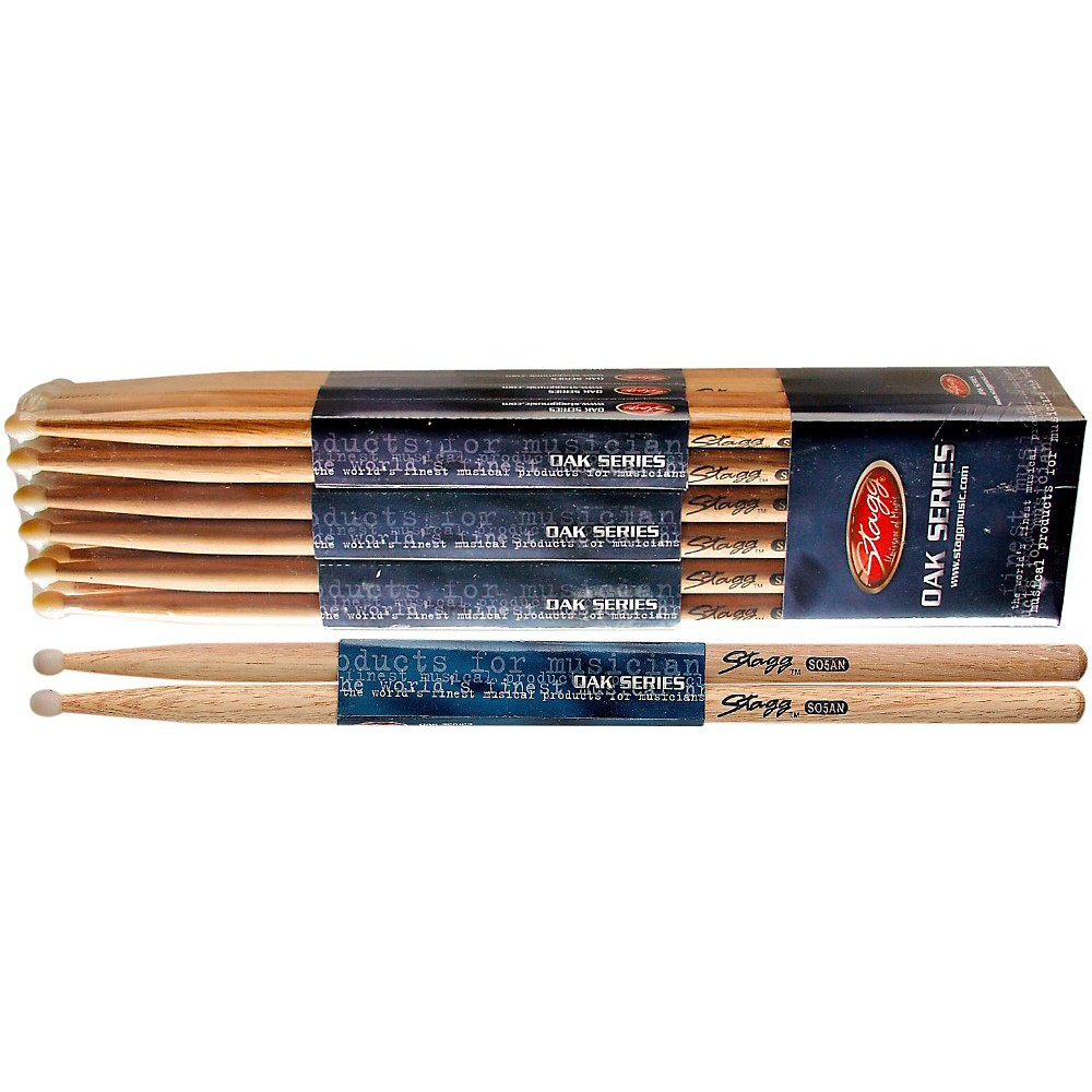 Stagg 12-PAIR OAK DRUM STICKS Nylon Tip 5AN