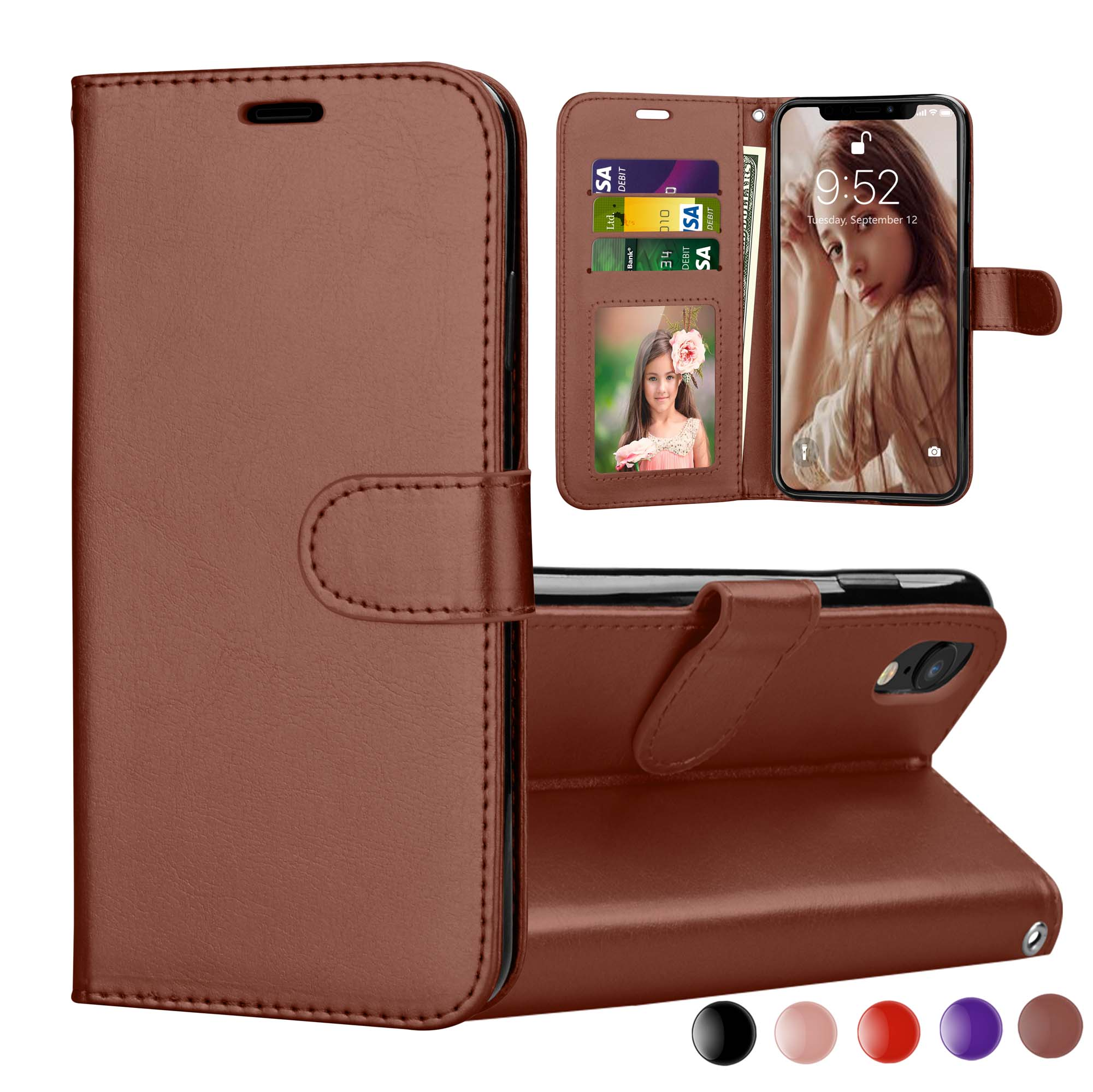 5872dd40617 iPhone XR Case, 2018 iPhone XR Wallet Cover, iPhone XR PU Leather Cases,  Njjex [Wrist Strap] Flip Folio [Kickstand ] PU leather wallet case with 3  ID&Credit ...